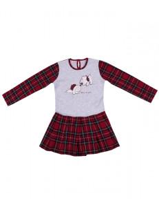 """Платье с длинными рукавами в красную клетку """"два щенка"""""""