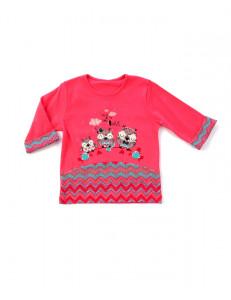 """Джемпер для девочек коралловый с рукавами три четверти """"веселые совы"""""""