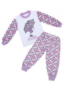 Пижама детская в сиреневый ромб девочка с зонтом
