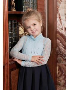 """Джемпер для девочек голубого цвета из гипюра """"Лора"""""""