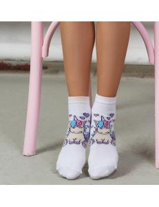 """Носки модные белого цвета для девочек """"Единорог"""""""
