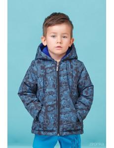 """Куртка демисезонная для мальчиков синего цвета """"байкер"""""""