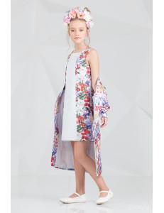 """Комплект белого цвета платье и пальто """"Брайт лук"""""""